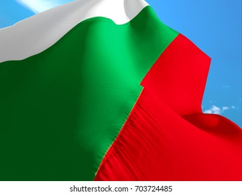 Bulgarian flag. 3D Waving flag design. Red, white and green flag.  The national symbol of Bulgaria. Bulgarian National colors.National sign of Bulgaria background flag silk texture