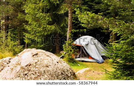 bulgarian forest landscape with tent