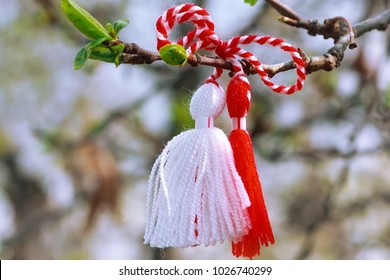 Bulgarian Martenitsa spring sign on the tree branch holiday postcard background