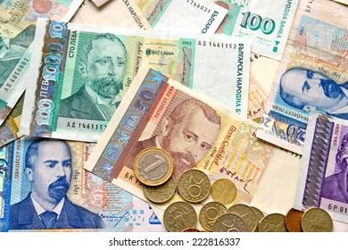 Bulgarian money closeup as background