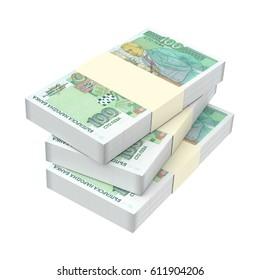 Bulgarian money isolated on white background. 3D illustration.