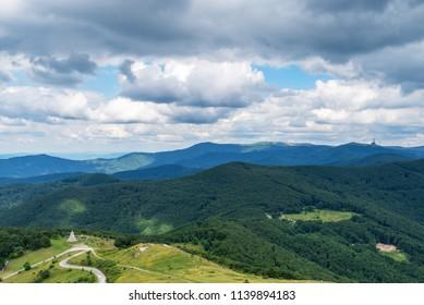 Bulgarian Mountains at Shipka Pass. View from Shipka Memorial.