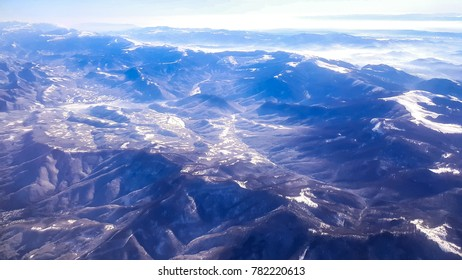 Bulgarian mountains view from airplane