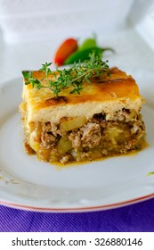 Bulgarian moussaka with potatoes and mince and top with toasted mixture of yogurt and eggs moussaka