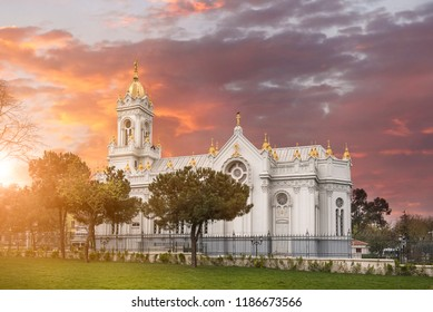 The Bulgarian Orthodox St. Stephen Church or known as Iron Church and Sveti Stefan at Istanbul, Turkey, Balat District. Church reopened after big restoration. at sunset