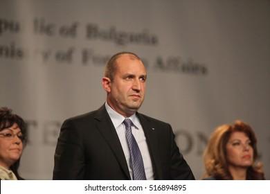 Bulgarian President-elect Rumen Radev wins the presidential vote.  Sofia, Bulgaria - November 13, 2016: