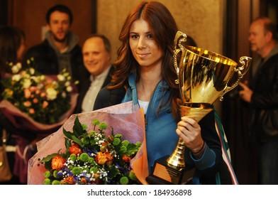 The Bulgarian tennis player Tsvetana Pironkova, arriving at Sofia, Bulgaria airport after her participation in Miami tournament. 1 April, 2014