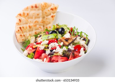 bulgarian traditional salad with cheese