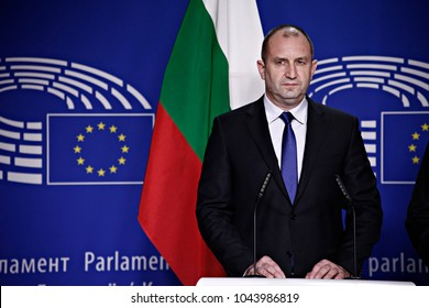 Bulgaria's President Rumen Radev gives a press conference at the European Parliament in Brussels, Belgium on Jan. 30, 2017