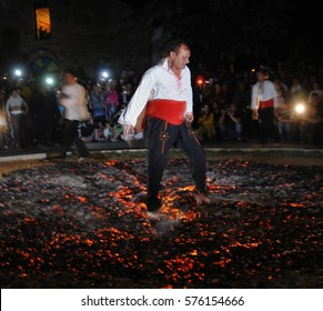 """Bulgary, Bulgaria - August 20, 2010 :  People dance on fire as a part of tradition called """"Nestinarstvo"""""""