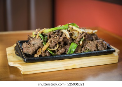 Bulgogi Korean Marinated Beef Dish with Green Onions