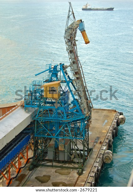 Bulk cargo loading equipment in industrial port