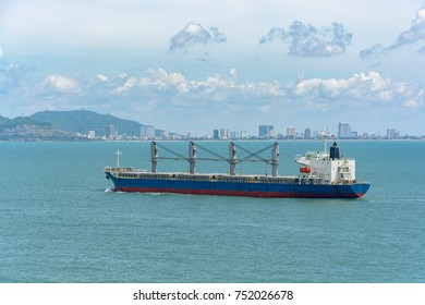 Bulk carrier vessel approaches to the Vung Tau peninsula, Southeastern Vietnam..