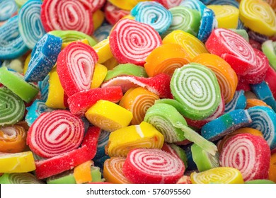 Bulk of colorful gummy jello candy roles