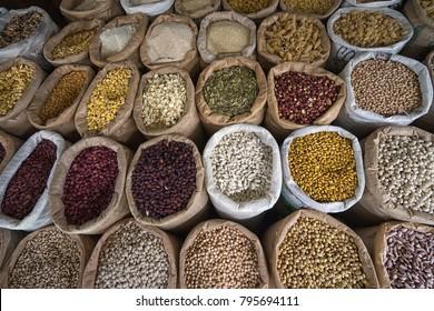 bulk dried foods in the Amazonas produce market of Ibarra, Ecuador