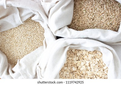 Bulk grains and cereal in reusable cotton bags