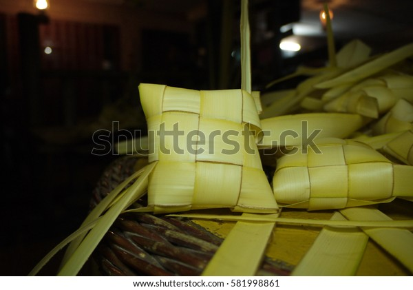 Bulk of Ketupat with blur background. Ketupat is name in Malaysia