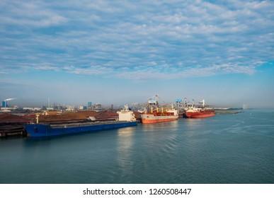 Bulk material ships loading at Rotterdam