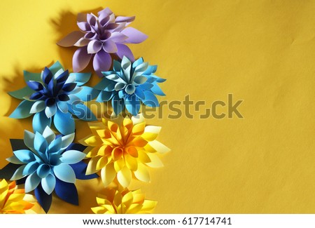 Bulk paper flowers childrens birthday party stock photo edit now bulk paper flowers childrens birthday party the occasion the background is yellow mightylinksfo