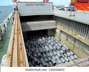 The bulk steel cargos vessel berth at port.