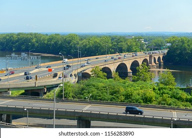 Bulkeley Bridge across Connecticut River on Interstate Highway 84 in downtown Hartford, Connecticut, USA.
