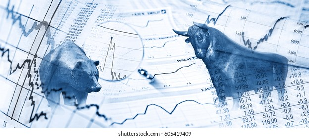Bull, bear, charts and stock charts as symbols for the stock exchange