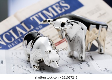 bull and bear, Financial Times in the background