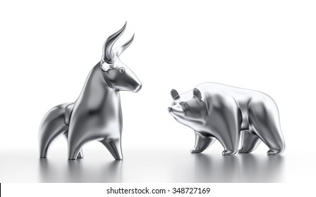 """Bull And Bear Market. Metallic statuettes of a bull and a bear as metaphoric stock market """"players"""". 3D rendered graphics on white background."""