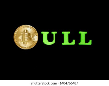 Bull, bitcoin grows in price, wich showed with the rising letters in the bull word, stylized exchange market candles, the price of bitcoin increases. Bullish market concept.