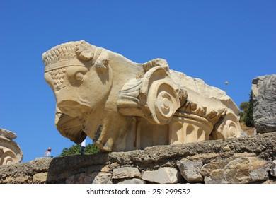 Bull column sculpture at Ephesus, Turkey