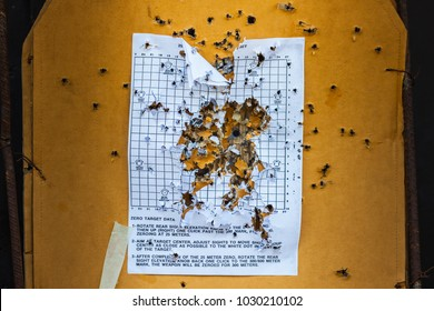 Bull eyetarget with bullet hole, Wood targets stained with gun shooting at combat training
