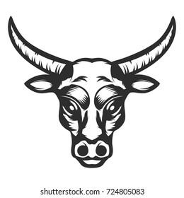 Bull head icon on white background. Design element for logo, label, emblem, sign.