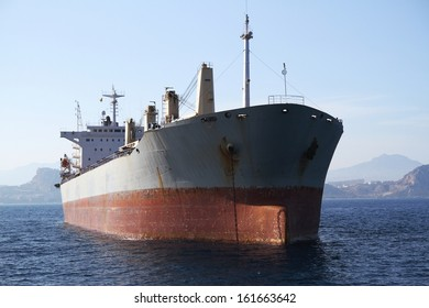 Bullcarrier ship anchored in the bay of Alicante waiting for entering port