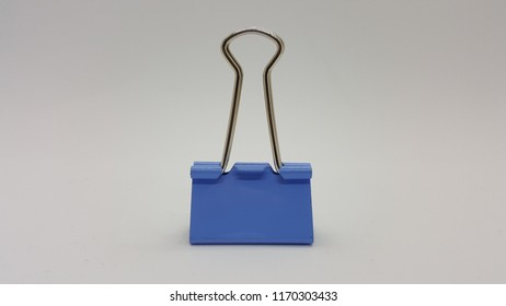 Bulldog clip blue in white background