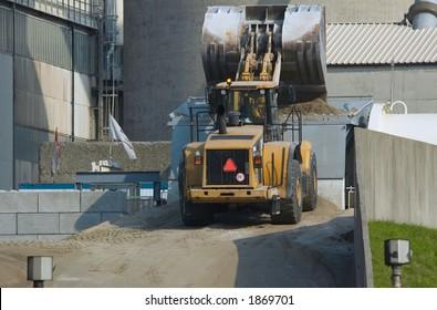 A bulldozer in action