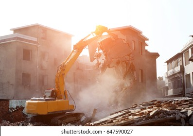 Bulldozer demolished old building.
