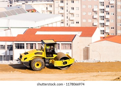 bulldozer roller working in construction site