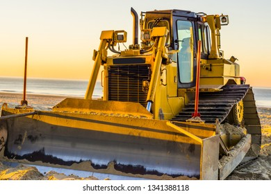 bulldozer with a scoop, ground mover machine, groundwork industry equipment