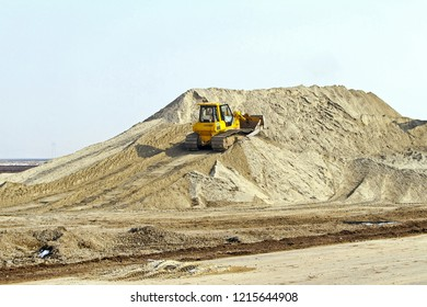Bulldozer With Track at Sand Dune Construction