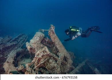 bulldozer underwater with ccr diver million dollar point santo vanuatu