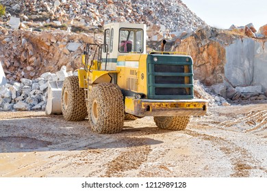 Bulldozer working in the marble quarry in Afyonkarahisar of Turkey. November  2016