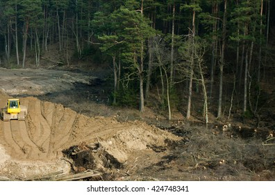 bulldozer  working in woods