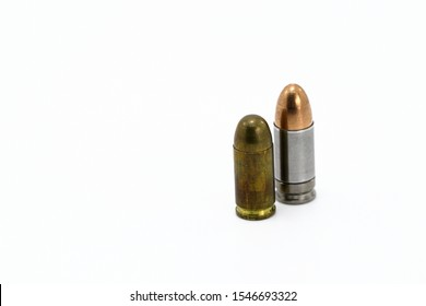 bullet 9mm parabellum FMJ (Full Metal Jacket ) and  bullet 9mm kurz or .380 acp FMJ (Full Metal Jacket ) isolate on white background
