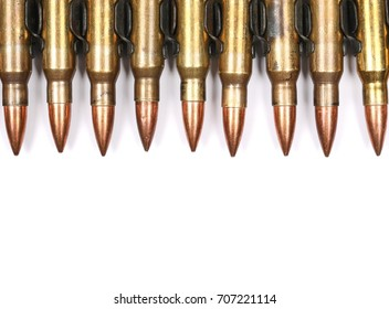 Bullet belt, bandoleer, machine gun ammo isolated on white background, top view