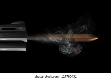 A bullet blasts from the barrel of a gun. A computer generated image.