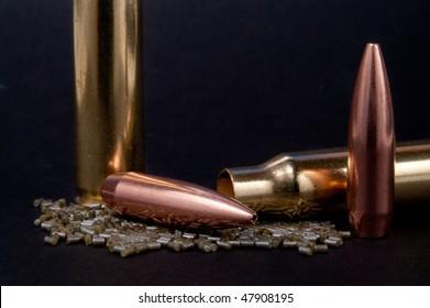 Bullet, casing, and gun powder