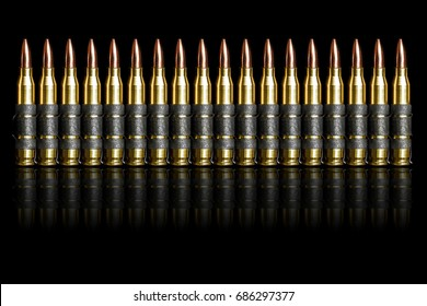 Bullet chain ammunition isolated on black background