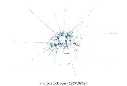 Bullet hole, broken glass texture and background, isolated on white, with clipping path