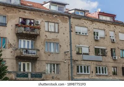 Bullet holes in a house in Sarajevo, Bosnia and Herzegovina