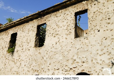 Bullet Holes on Wall - Sarajevo - Bosnia-Herzegovina